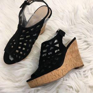 Franco Sarto Black Caged Tan Cork Wedge Shoes 7